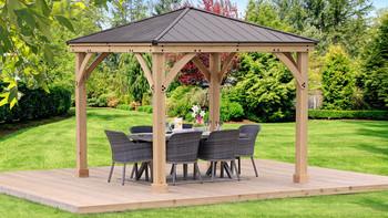 Yardistry Meridian Gazebo with Cedar Wood & Aluminum Roof (10 ft. x 10 ft.)