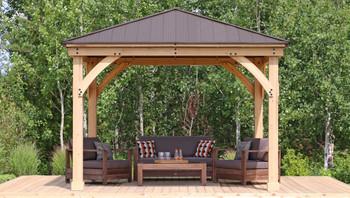 Yardistry Meridian Gazebo with Cedar Wood & Aluminum Roof (12 ft. x 12 ft.)