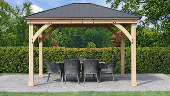 Yardistry Meridian Gazebo with Cedar Wood & Aluminum Roof (11 ft. x 13 ft.)