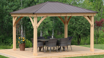 Yardistry Meridian Gazebo with Cedar Wood & Aluminum Roof (12 ft. x 14 ft.)