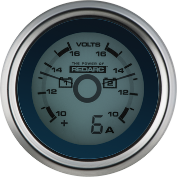 REDARC G52-VVA Dual Voltage 52mm Gauge with Optional Current Display