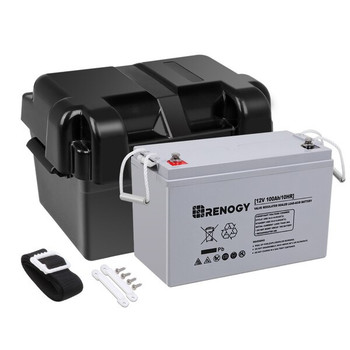 Renogy 12V 100Ah Deep Cycle AGM Battery with Battery Box