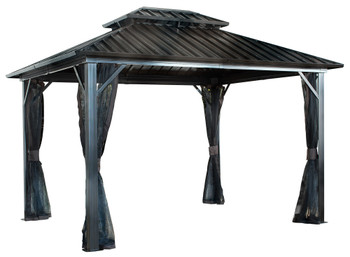 Sojag 500-9165074 Genova II Double Roof Gazebo 12 x 16 ft - Dark brown