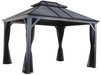 Sojag 500-9165210 Mykonos II Double Roof Gazebo 10 x 14 ft - Dark grey