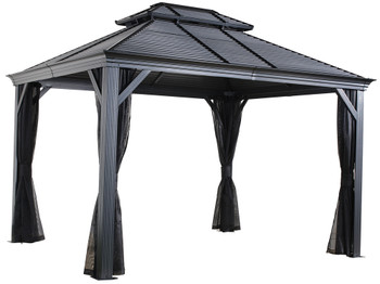 Sojag 500-9165357 Mykonos Double Roof Gazebo 12 x 14 ft - Dark grey