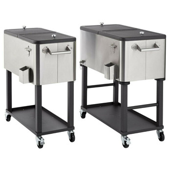 TRINITY 100 Quart Stainless Steel Cooler with Shelf