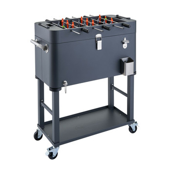 TRINITY 80 Quart Foosball Cooler with Detachable Tub and Cover - Charcoal Gray