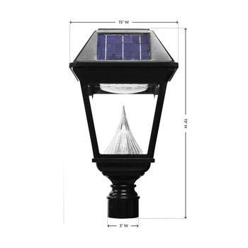 Gama Sonic Imperial II Series – Single Solar Lamp with 3 Inch Fitter GS-97NF