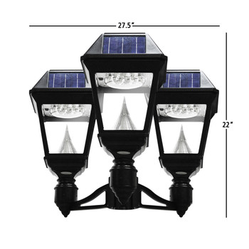 Gama Sonic Imperial II Triple Head Solar Post Light With 3-Inch Fitter GS-97NF3
