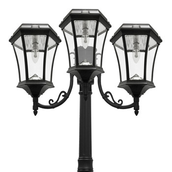 Gama Sonic Victorian Bulb Solar Lamp and Single Lamp Post with GS Solar LED Light Bulb GS-94B-T