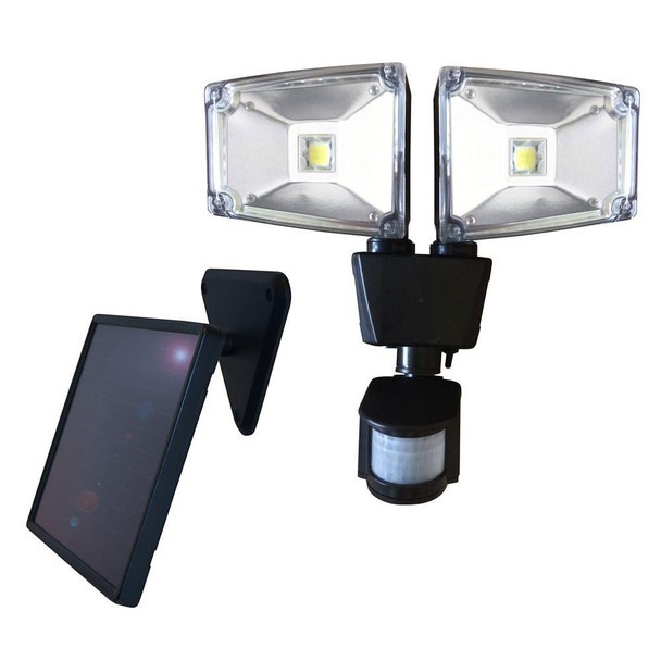 160 Degree Black Motion Sensing Outdoor Solar Dual Lamp Security Light with Advance LED Technology
