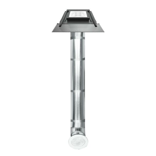 Fakro SRH-L 14 in. Flat Glass Tubular Skylight with Rigid Light Tunnel and Integrated High-Profile Flashing