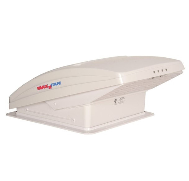 MaxxFan Deluxe 5100K Manually Operated Roof Vent with Thermostate - White