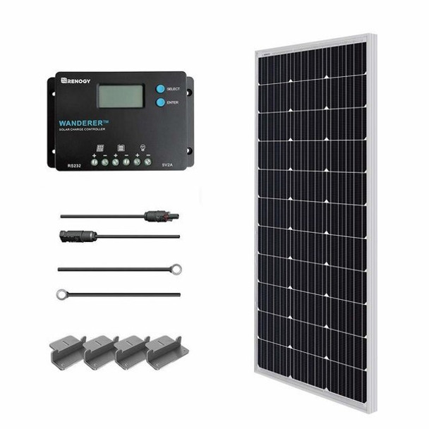 Renogy 100W 12V Monocrystalline Solar Starter Kit w/Wanderer 10A Charge Controller