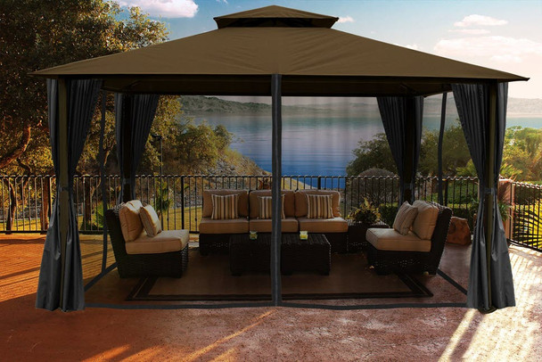 Barcelona Soft Top Gazebo with Cocoa Dome-Tex Canopy, Mosquito Netting and Curtains (11 ft. x 14 ft.)