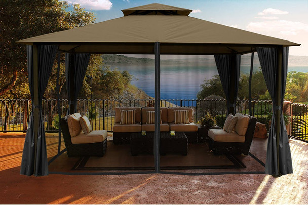 Barcelona Soft Top Gazebo with Sand Dome-Tex Canopy, Mosquito Netting and Curtains  (11 ft. x 14 ft.)
