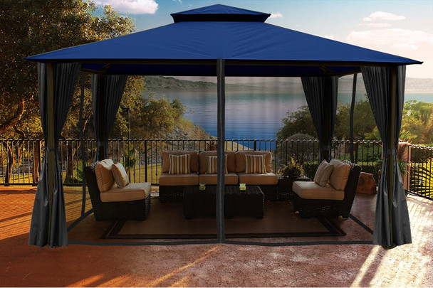 Barcelona Soft Top Gazebo with Navy Dome-Tex Canopy, Mosquito Netting and Curtains  (11 ft. x 14 ft.)
