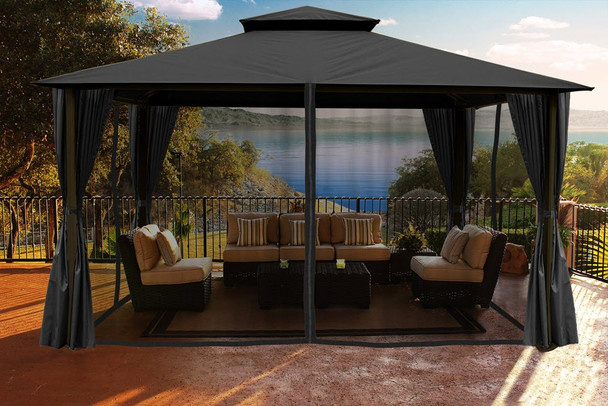 Barcelona Soft Top Gazebo with Grey Dome-Tex Canopy, Mosquito Netting and Curtains  (11 ft. x 14 ft.)