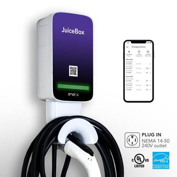JuiceBox® Pro 40C 40-Amp Commercial EV Charging Station (Level 2 EVSE) with 24-foot cable