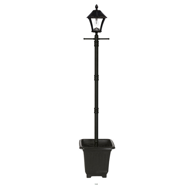 Gama Sonic Baytown Bulb Solar Lamp Post with EZ-Anchor and Planter GS-106B-PLSG