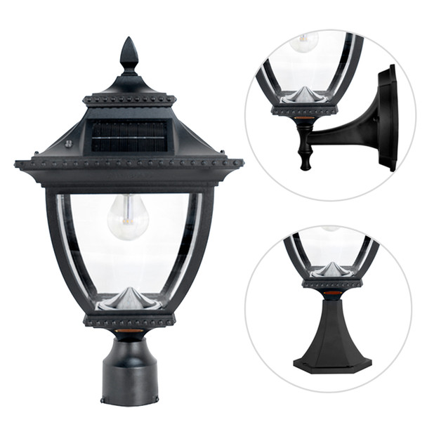 Gama Sonic Pagoda Bulb Solar Lamp – Wall/Pier/3″ Fitter Mount GS-104B-FPW