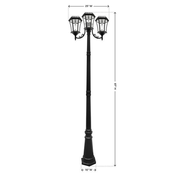 Gama Sonic Victorian Bulb Solar Lamp and Single Lamp Post with GS Solar LED Light Bulb GS-94B-T