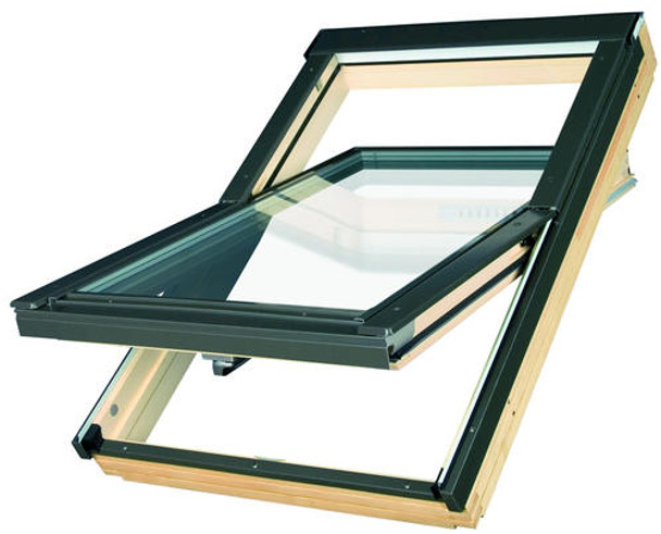 Fakro 32-1/4 in. x 48 in. H Deck Mount Highly Energy-Efficient Roof Window FTT-U6 30/46 with Laminated Triple-Glass