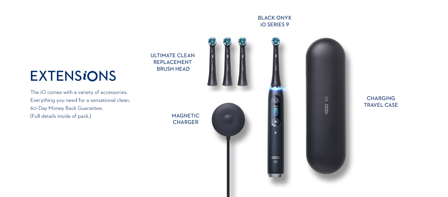 Oral-B iO Series 9 Black Onyx electric toothbrush accessories