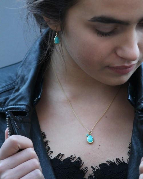 Gold Turquoise Tear Drop Necklace