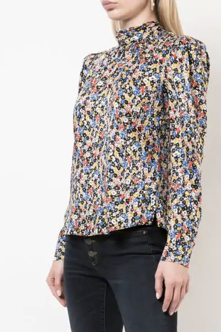 Floral High Neck Silk Top