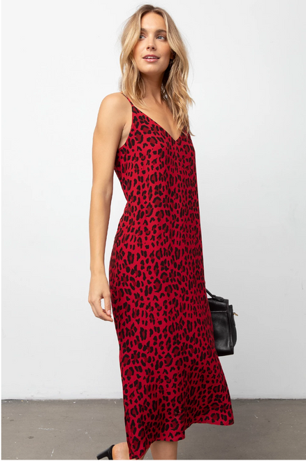 Yara Dress in Red Leopard
