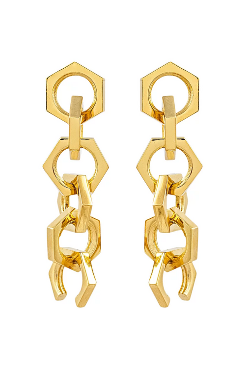 Medium Linked Earrings Gold