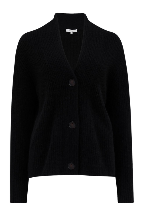 Cashmere Raised Collar Cardigan - Black