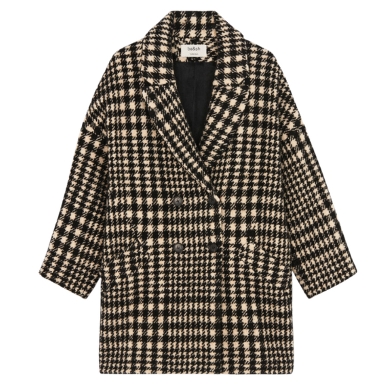 Woody Coat in Black and White Houndstooth