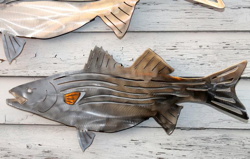 Stainless Steel striped bass art