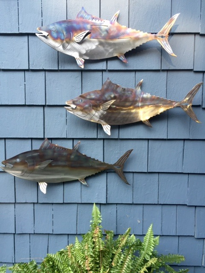 "Set of 3 - 23""Stainless steel Flamed Tuna for walls"