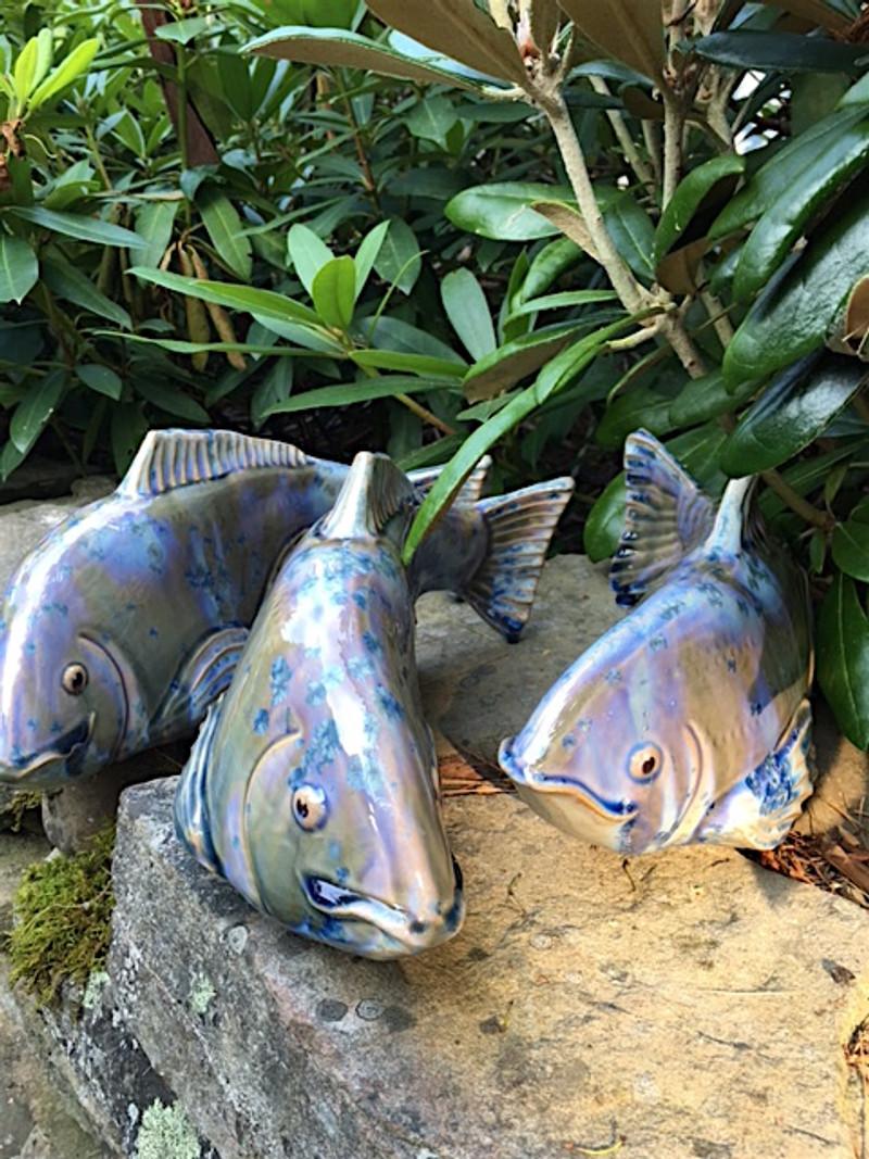 Set of 3 Medium New Blue Koi- 2nd quality- FREE SHIPPING.