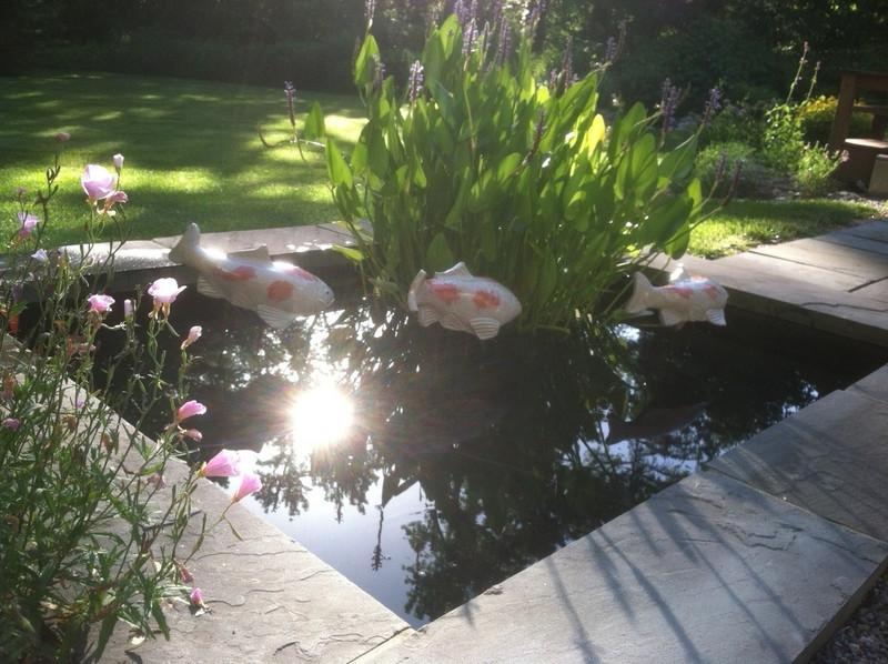 Koi garden sculpture