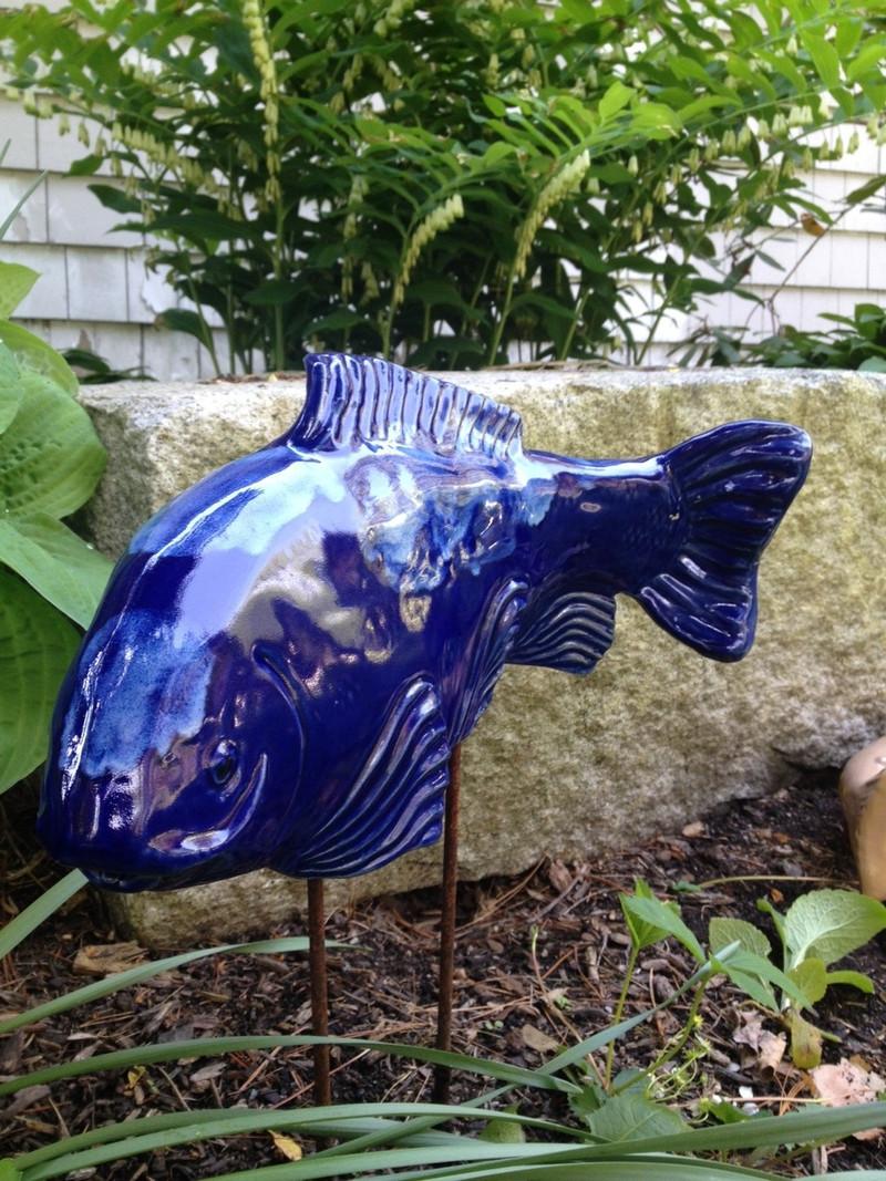 Cobalt Koi Garden Art