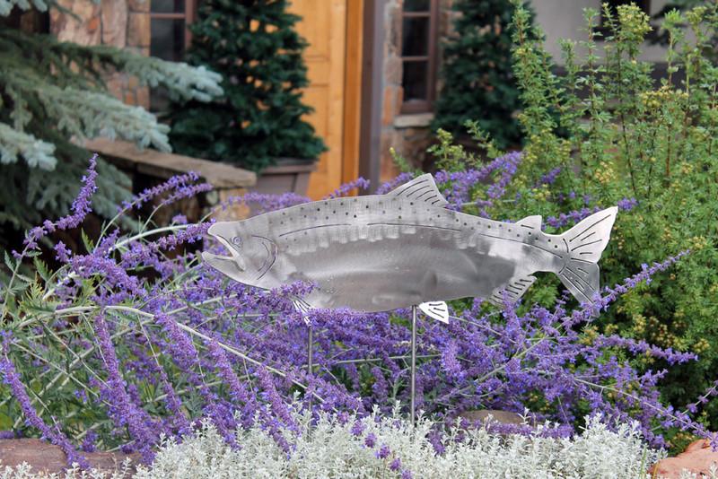 """23"""" Stainless steel Salmon Garden Garden Sculpture"""
