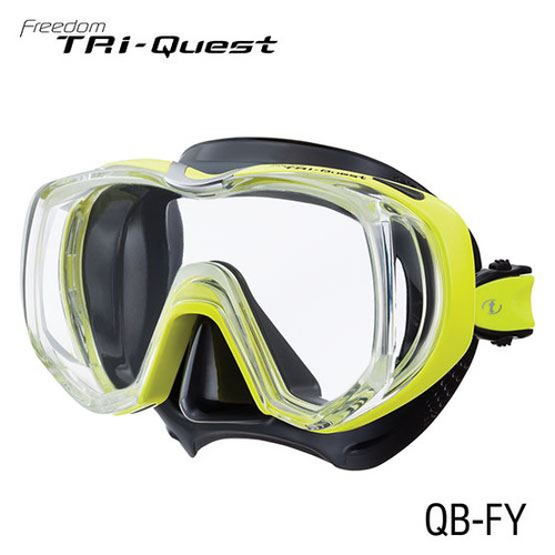 TUSA TRI QUEST 3 WINDOW MASK - BLK SILICONE W/YELLOW FRAME