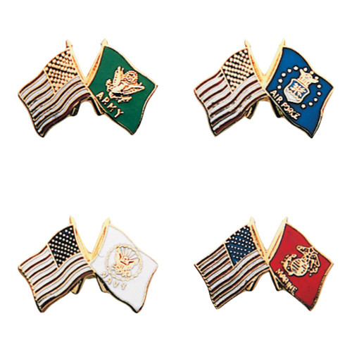 Armed Forces Emblem Pins with US Flags