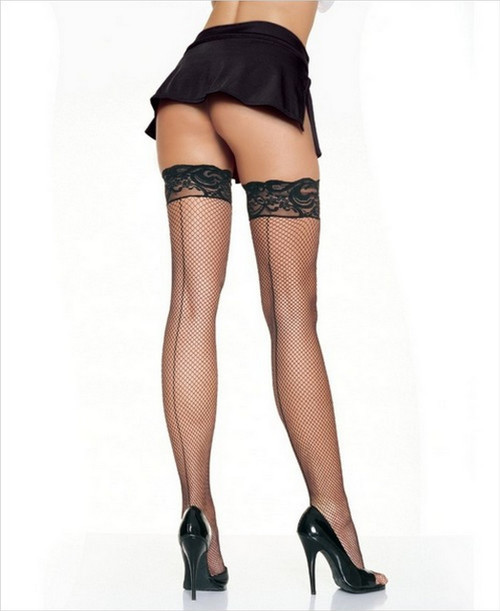 Thigh Highs Fishnet with Lace Stay Up Top