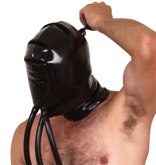 Inflatable Double Skinned Hood with Nose and Mouth Breathing Tubes