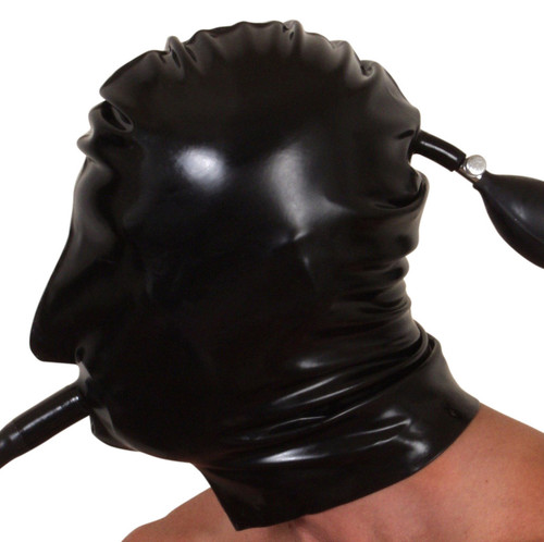 Inflatable Double Skinned Hood with Solid Internal Plug and Breathing Tube