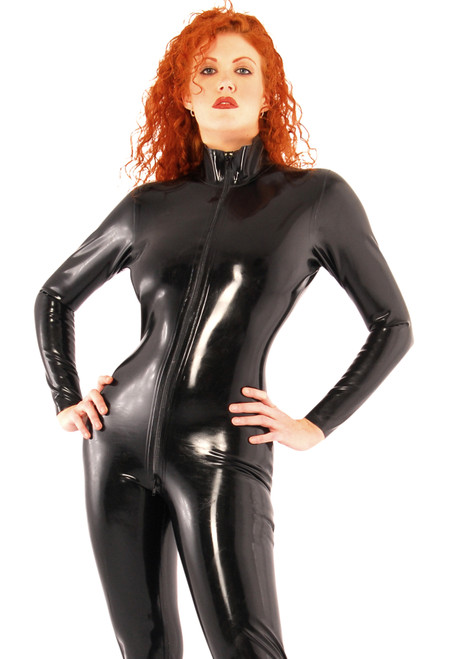 Catsuit Thru Zip Front Large Black