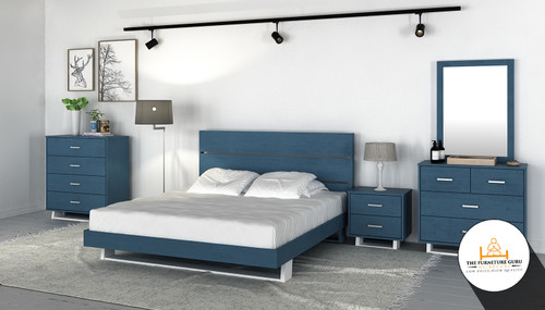 RED HOT DEAL 6 PIECE BEDROOM PACKAGE (LEION COLLECTION IN OCEAN BLUE )