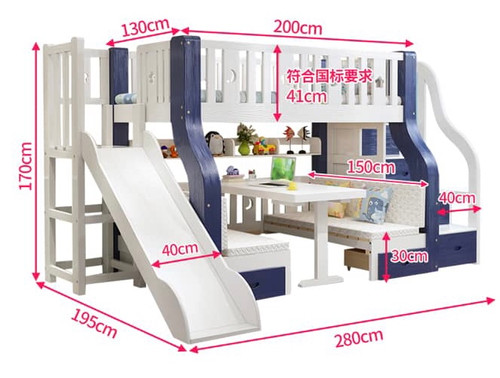 KIDS BUNK BED WITH SLIDES AND OPTION TO CHANGE BOTTOM BED TO STUDY TABLE