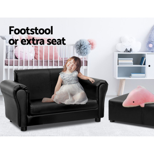 Kids Sofa Armchair Footstool Set Black Lounge Chair Children Lounge Couch