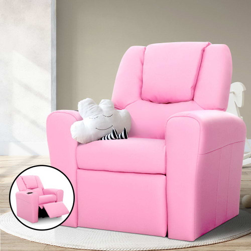 Keezi Kids Recliner Chair Pink PU Leather Sofa Lounge Couch Children Armchair